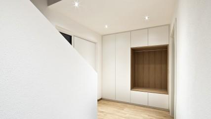 Einbaugarderobenschrank Weiß und Eiche - Held Schreinerei | Interior Design Freising München